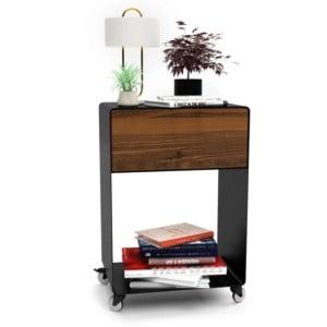 nachttisch-schwarz-holz-metall-modern-design-massivholz-mit-schublade-nussbaum-minimalistisch-mit-rollen-m.a.m.-3