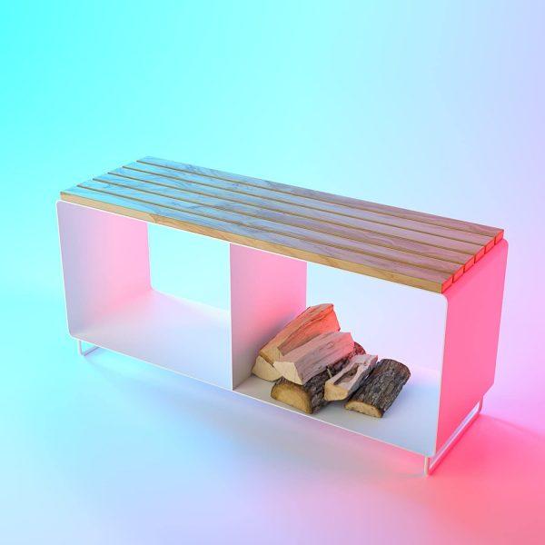 gartenbank-bank-sitzbank-weiss-holz-metall-aluminium-mit-stauraum-fuer-kaminholz-minimalistisch-design-dreamer-collection-flamma-m
