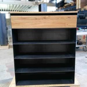 schuhregal-highboard-schwarz-grau-holz-eiche-metall-modern-design-mit-4-ablagen-mit-schublade-industrial-style-stahlzart